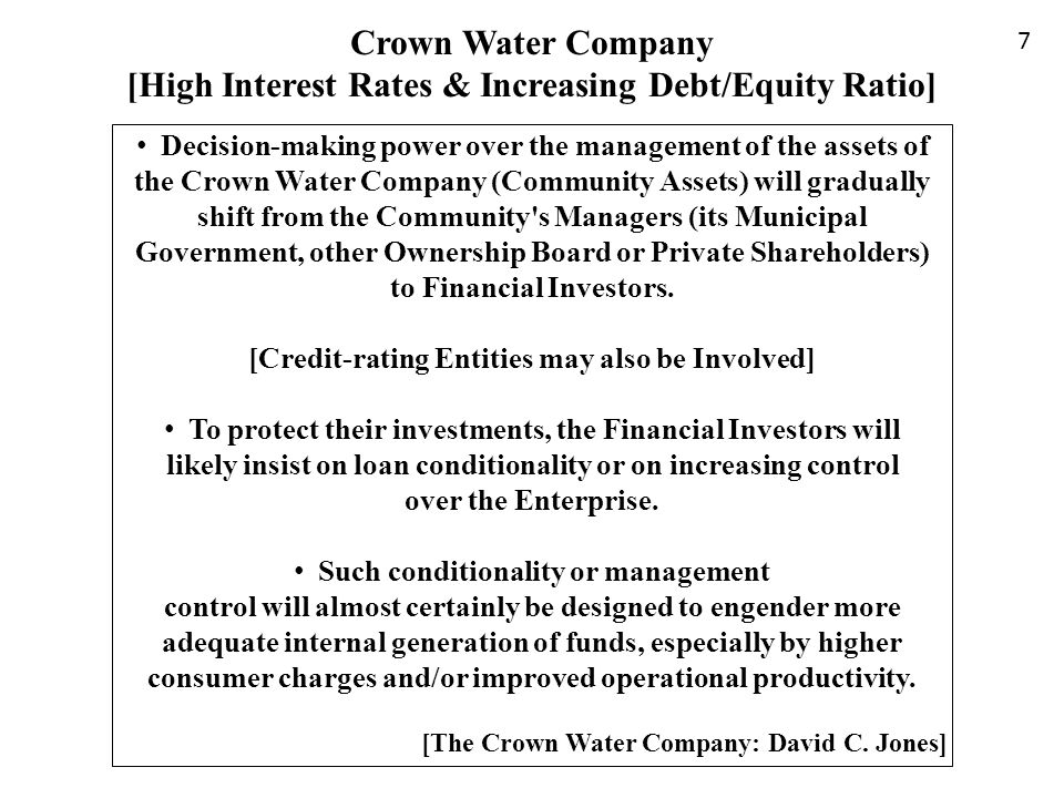 Crown Water Company [High Interest Rates & Increasing Debt/Equity Ratio]